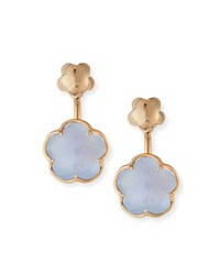 Pasquale Bruni Bon Ton Chalcedony Flower Jacket Earrings In 18K Rose Gold