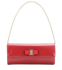 Salvatore Ferragamo Ginny Leather Clutch Red