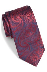 Men's Bugatchi Paisley Silk Tie Ruby