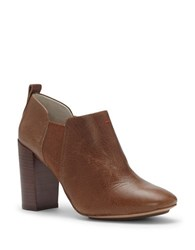 Ed Ellen Degeneres Mahoney Leather High Heel Booties Brown