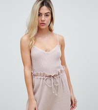 Micha Lounge Knitted Cami Top In Soft Rib Co Ord Pink Tan