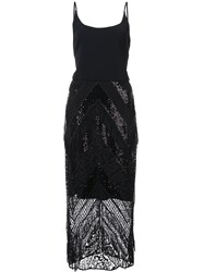 Christian Siriano Sequin Lace Fitted Dress Black