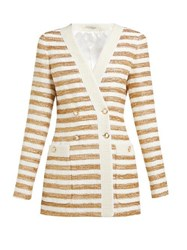 Alessandra Rich Striped Double Breasted Tweed Jacket White Gold