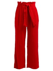 Mara Hoffman Arianna Wide Leg Cotton Trousers Red