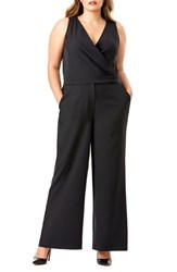 Mynt Plus Size Women's 1792 Lace Up Back Wide Leg Jumpsuit Black