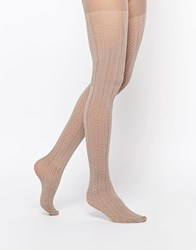 Gipsy Cable Chevron Tights Beige