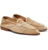 Edward Green Polperro Leather Trimmed Suede Penny Loafers Neutral