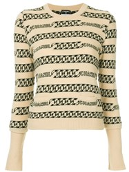 Chanel Vintage Chain Intarsia Jumper Neutrals