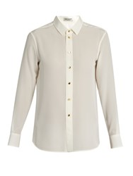 Saint Laurent Point Collar Silk Crepe De Chine Shirt Cream