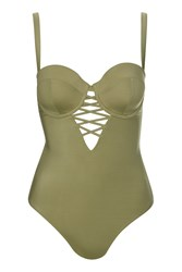 Topshop Fuller Bust Swimsuit By Wolf And Whistle Khaki