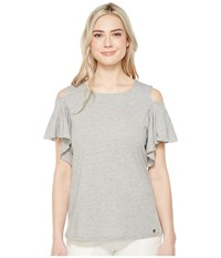 Ivanka Trump Knit Cold Shoulder Ruffle Sleeve Heather Grey Women's Short Sleeve Pullover Gray