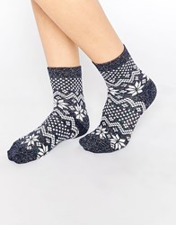 Asos Christmas Socks With Metallic Fair Isle Pattern Blue