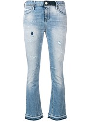Rta Low Rise Flare Cropped Jeans Blue