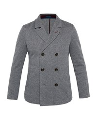 Ted Baker Men's Herringbone Design Jersey Coat Charcoal