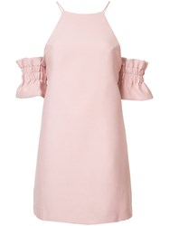 C Meo Collective Ruffled Sleeves Fitted Cocktail Dress Women Polyester M Pink Purple