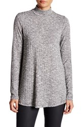 Cable And Gauge Ribbed Melange Mock Neck Tee Multi