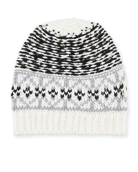 Neiman Marcus Mixed Fair Isle Pattern Knit Hat Black White