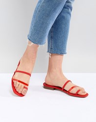 Bershka Clean Multi Strap Flat Sandals Red