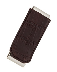 Cole Haan Double Money Clip W Croc Embossed Trim Chocolate