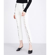 Yang Li Slim Fit Lace Up Leather Trousers Off White