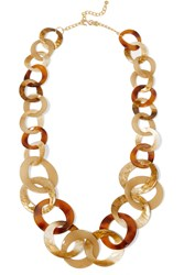 Kenneth Jay Lane Tortoiseshell Acetate Necklace Brown
