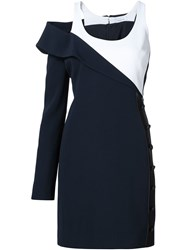 Thierry Mugler Mugler Leather Panel One Sleeve Dress Blue