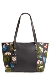 Tommy Bahama Cozumel Floral Embroidered Leather Tote Black Black Multi