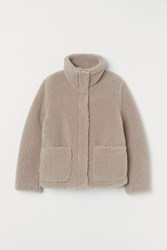 Handm H M Pile Jacket With High Collar Brown