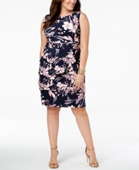 Connected Plus Size Floral Print Tiered Sheath Dress Navy