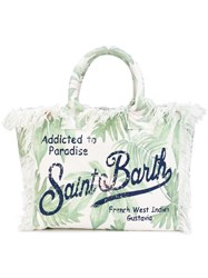 Mc2 Saint Barth Palm Print Frayed Edge Tote Men Canvas One Size Green