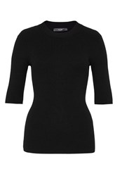 Hallhuber Half Sleeve Rib Knit Jumper Black