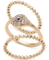 Lonna And Lilly Gold Tone 3 Pc. Set Pave Evil Eye Rings