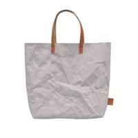 3 Wind Knots Gray Paper Look Tote With Leather Handles Multi