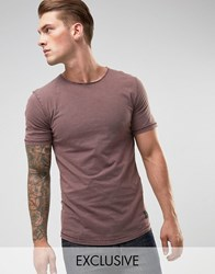 Only And Sons Long Line Dropped Hem T Shirt Fudge Beige