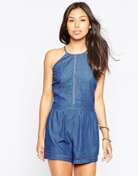 Influence Romper With Embroidered Trim Chambray Denim
