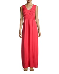 Neiman Marcus Braided Waist Sleeveless Maxi Dress Rich Red