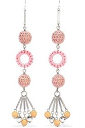 Ben Amun Woman Silver Tone Bead And Cord Earrings Pink