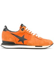 Golden Goose Deluxe Brand Running Sneakers Women Cotton Leather Suede Rubber 36 Yellow Orange