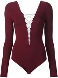 Alexander Wang T By Lace Up Bodysuit Red