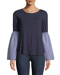Casual Couture Gingham Bell Sleeve Tee Navy