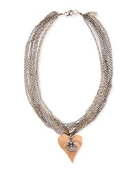 Hammered Pink Gold Heart Necklace With Diamond Crown Irit Design