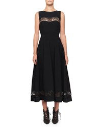 Alaia Raffia Embroidered Sheer Panel Dress Black