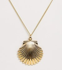 Designb London Oversized Shell Necklace Gold