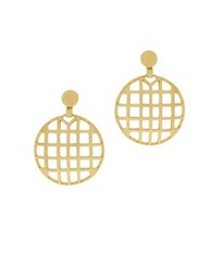 Botkier Round Caged Drop Earrings Gold