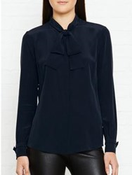 Karl Lagerfeld Silk Bow Blouse Navy