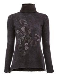 Avant Toi Embroidered Turtle Neck Sweater Black