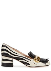 Gucci Gg Zebra Effect Leather Pumps White And Black