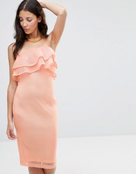 Girl In Mind India Bandeau Frill Mesh Bodycon Midi Dress Peach Pink