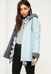 Missguided Blue Zip Through Faux Shearling Jacket
