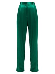 Hillier Bartley High Rise Silk Trousers Green
